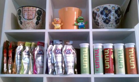 this is my Clif/Gu/Nuun selection along with fun toys and tea cups