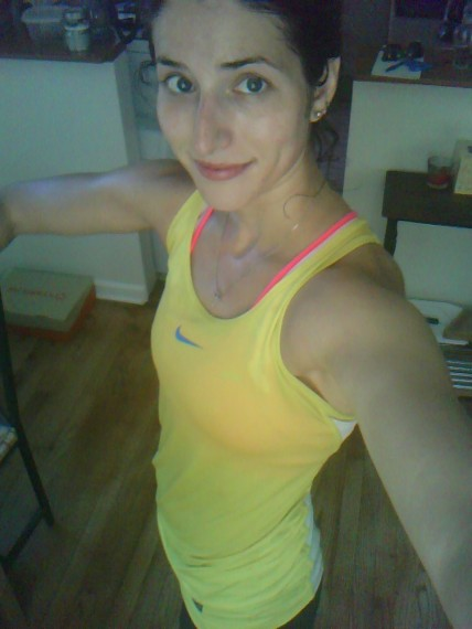 you can see that my pink Brooks sports bra + yellow tank= orange!